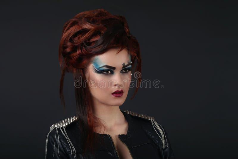 Muchacha del encanto con maquillaje azul imágenes de archivo libres de regalías
