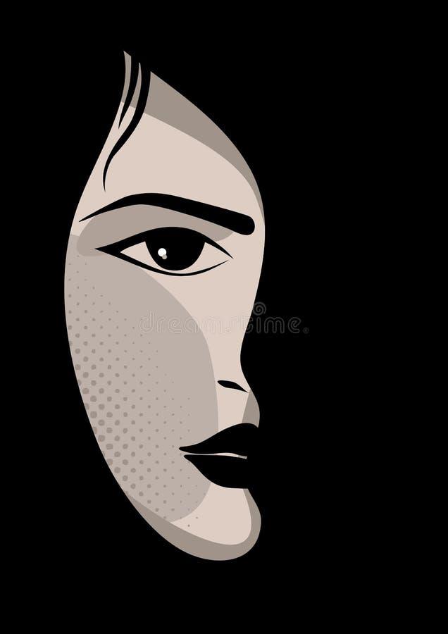 Muchacha del encanto o de la celebridad con el fondo negro stock de ilustración