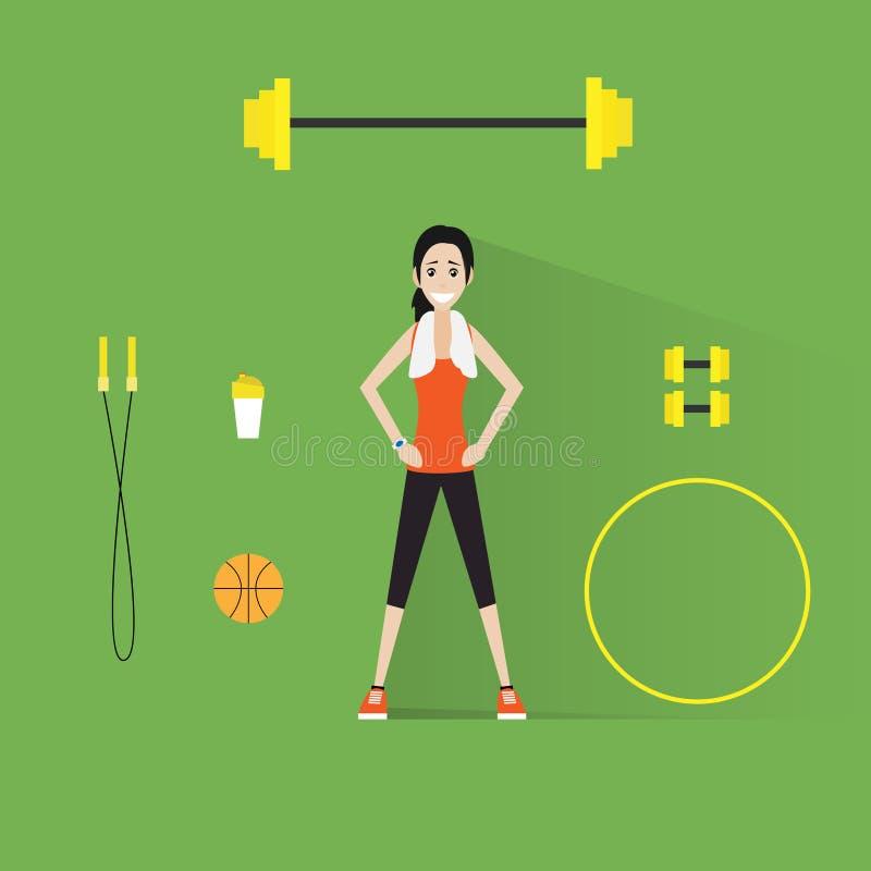Muchacha del entrenamiento del ejercicio de la mujer de la aptitud del deporte plana libre illustration