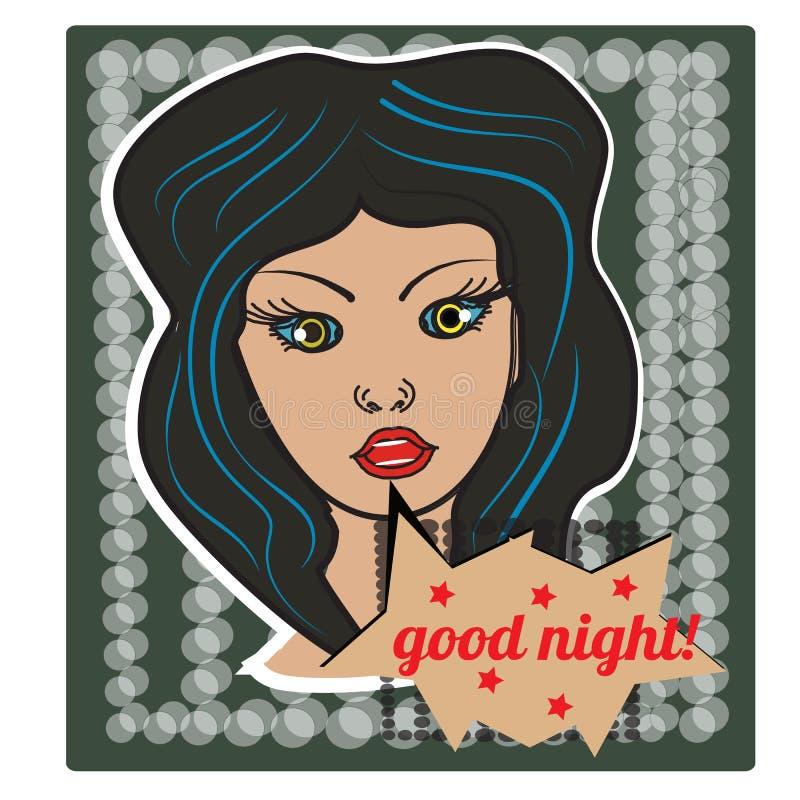 Muchacha del estilo del arte pop en el fondo de semitono con la burbuja feliz de las buenas noches Figura de la etiqueta engomada libre illustration