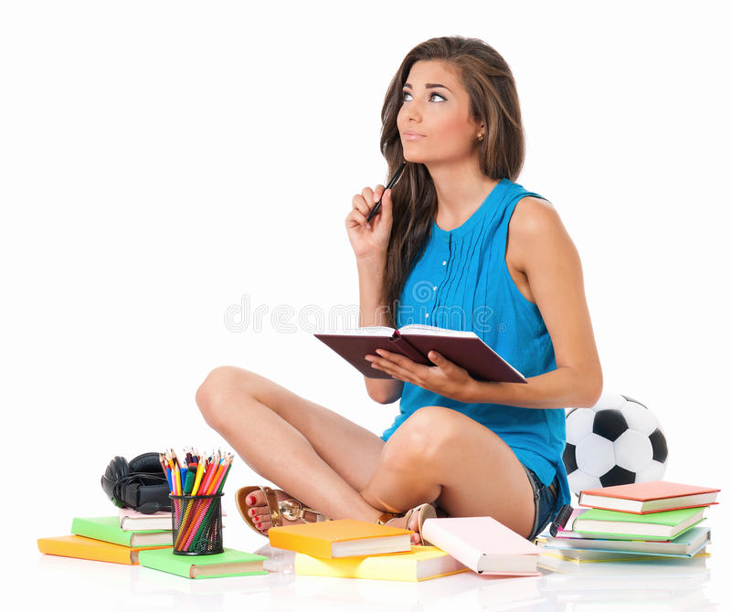 Muchacha del estudiante con los libros imagen de archivo