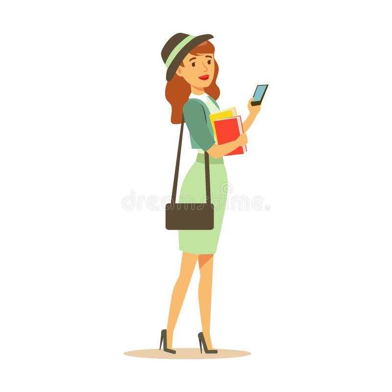 Muchacha del estudiante de Beatuful en la ropa de moda que coloca y que sostiene smartphone y los libros en sus manos Forma de vi ilustración del vector
