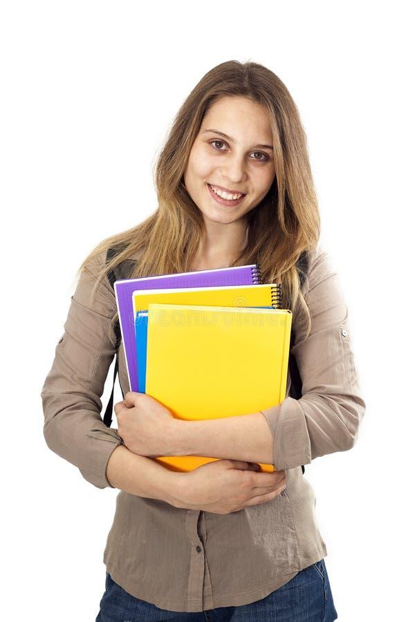 Muchacha del estudiante en fondo aislado fotos de archivo
