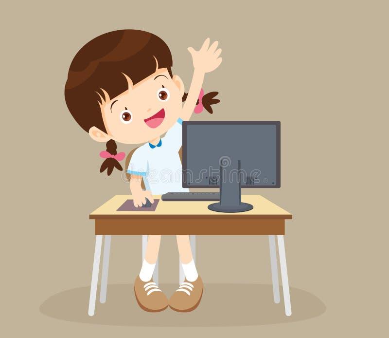 Muchacha del estudiante que aprende la mano del ordenador para arriba stock de ilustración