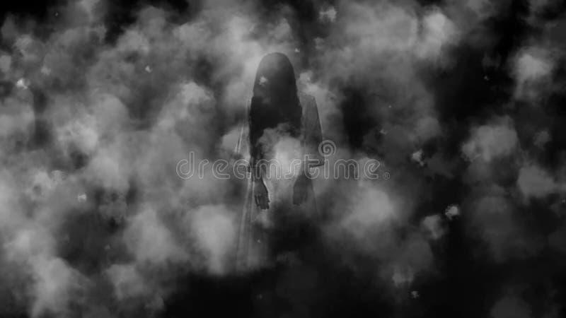 Muchacha del fantasma en el terror de noche de la niebla imágenes de archivo libres de regalías
