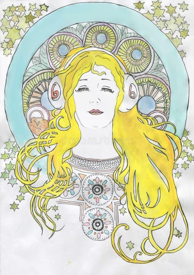 Muchacha del gorgona de la medusa con las serpientes en su cabeza foto de archivo libre de regalías