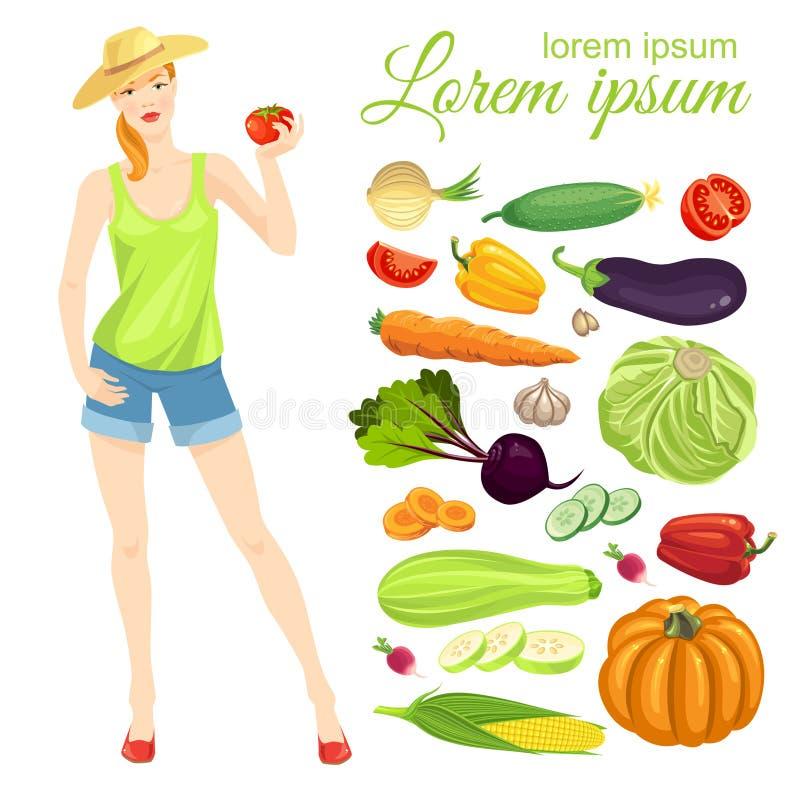 Muchacha del granjero y colección de verduras stock de ilustración