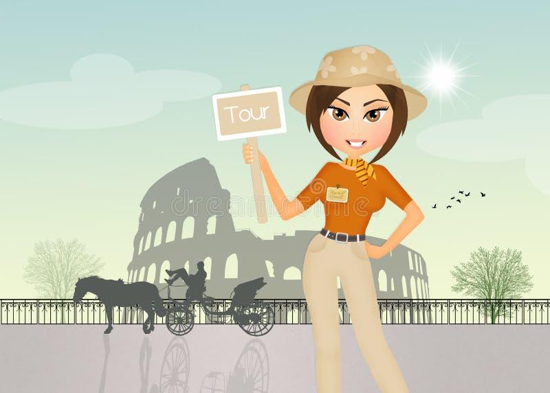 Muchacha del guía turístico en Roma libre illustration
