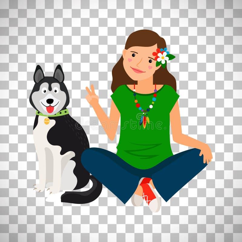 Muchacha del hippie con el icono del perro ilustración del vector