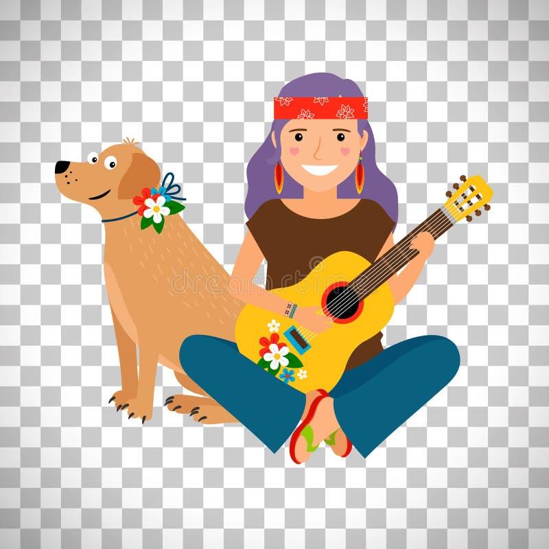 Muchacha del hippie con la guitarra y el perro libre illustration