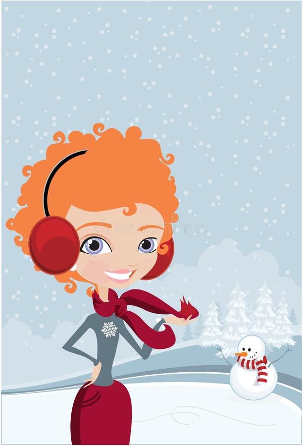 Muchacha del invierno stock de ilustración
