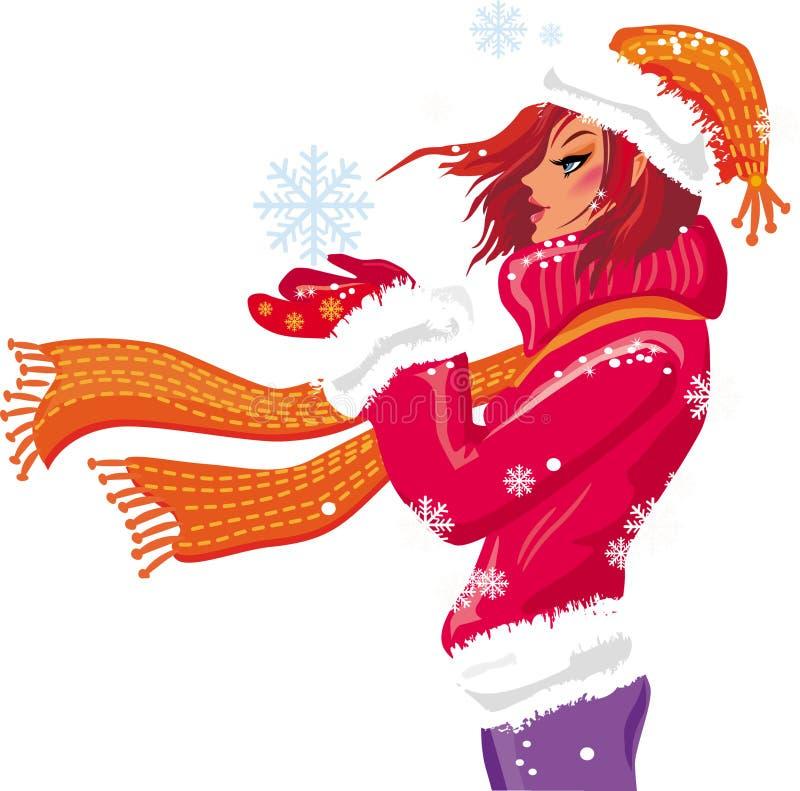 Muchacha del invierno. ilustración del vector