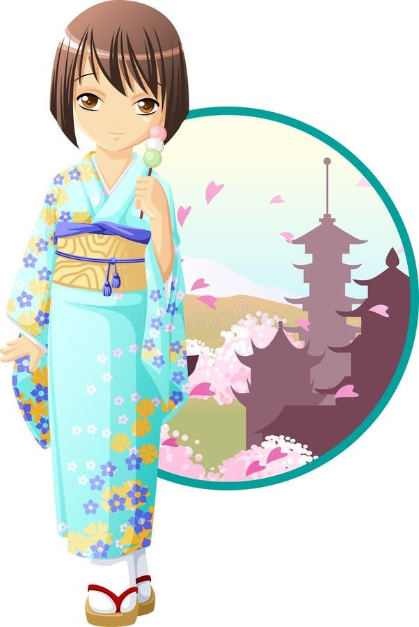 Muchacha del kimono del resorte ilustración del vector