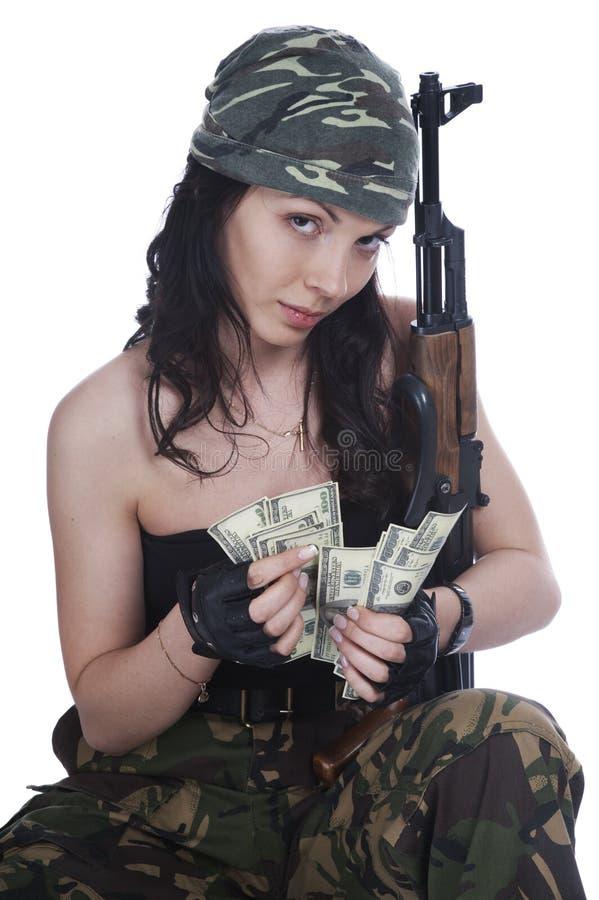 Muchacha del ladrón en camuflaje fotos de archivo libres de regalías