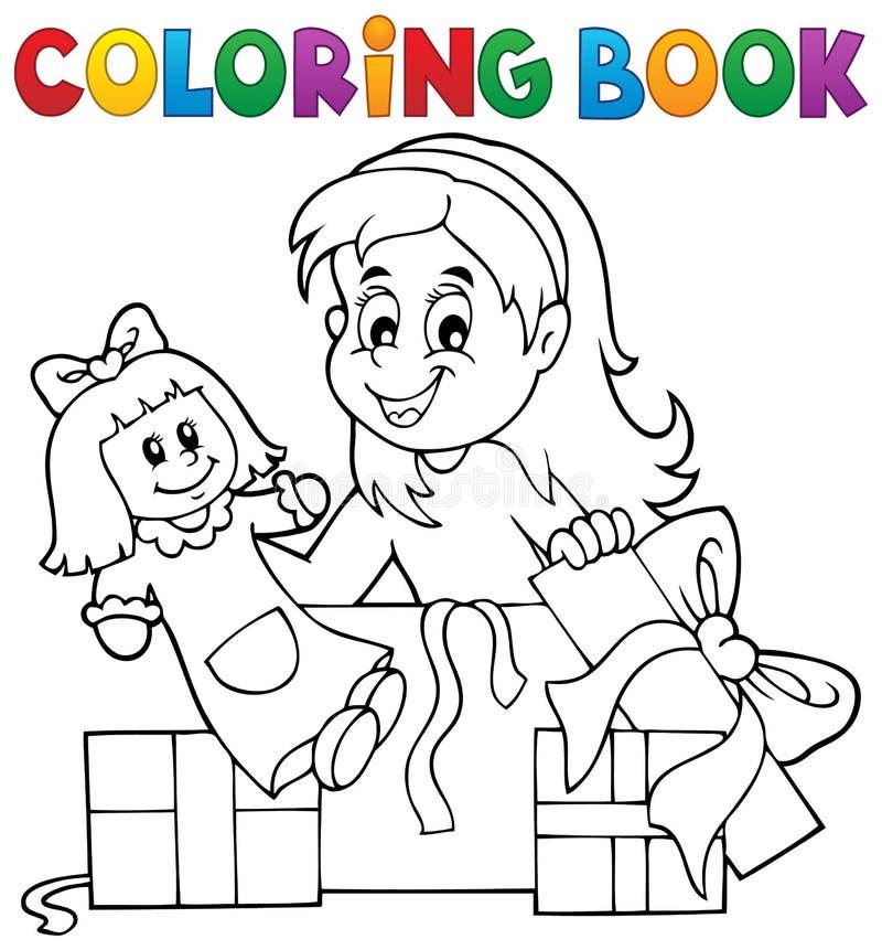 Muchacha del libro de colorear con la muñeca y los regalos libre illustration