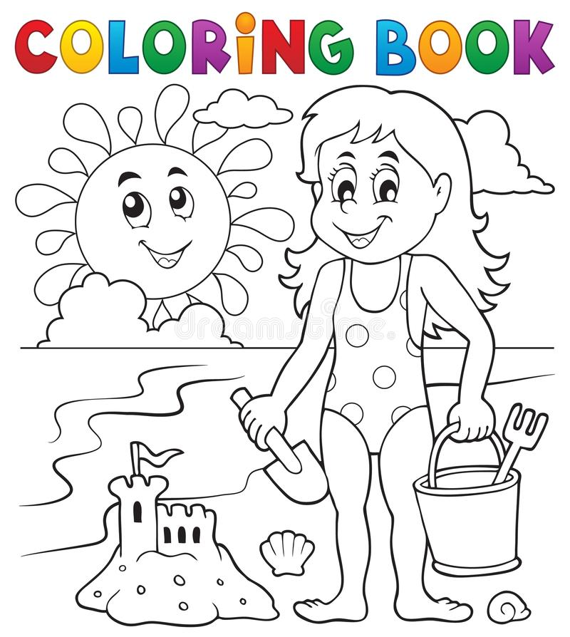 Muchacha del libro de colorear que juega en la playa 1 libre illustration
