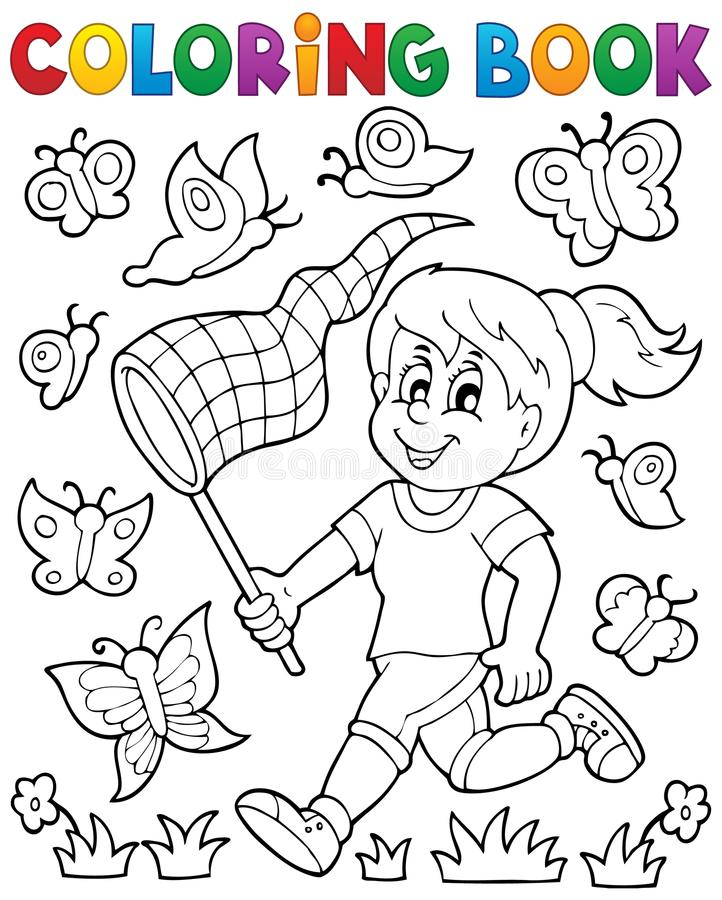 Muchacha del libro de colorear que persigue mariposas stock de ilustración
