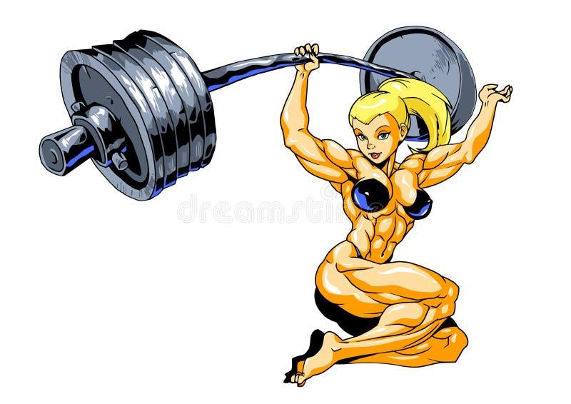 Muchacha del músculo con el deadlift del barbell stock de ilustración