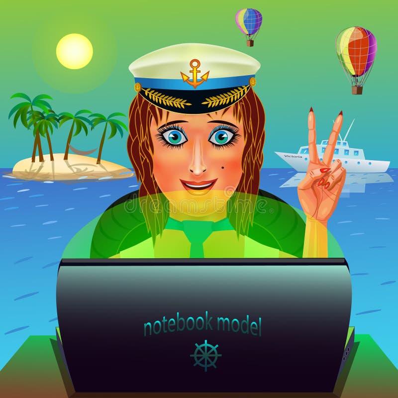 Muchacha del marinero con un ordenador portátil stock de ilustración