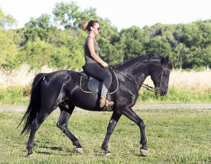 Muchacha del montar a caballo en el semental negro imágenes de archivo libres de regalías