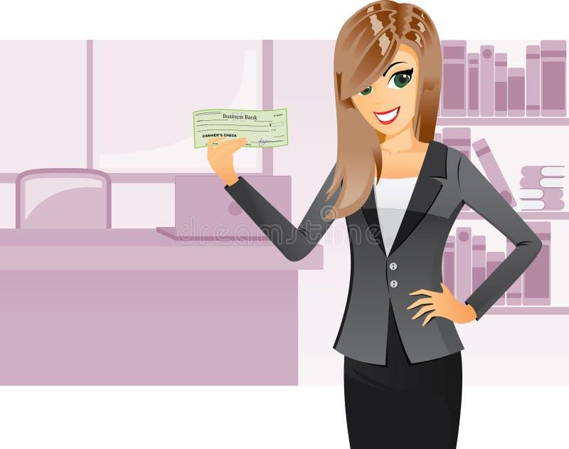 Muchacha del negocio que lleva a cabo el cheque de caja stock de ilustración