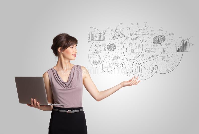 Muchacha del negocio que presenta gráficos y cartas dibujados mano del bosquejo libre illustration