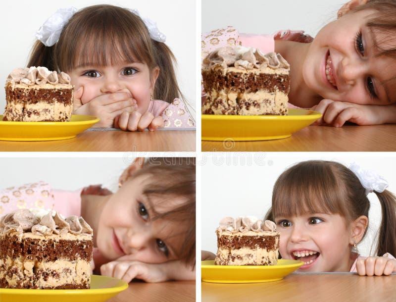 Muchacha del niño con la torta imagen de archivo