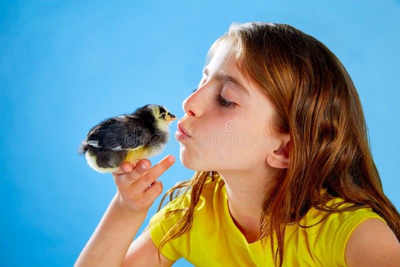 Muchacha del niño con los polluelos que juegan en azul imagen de archivo libre de regalías
