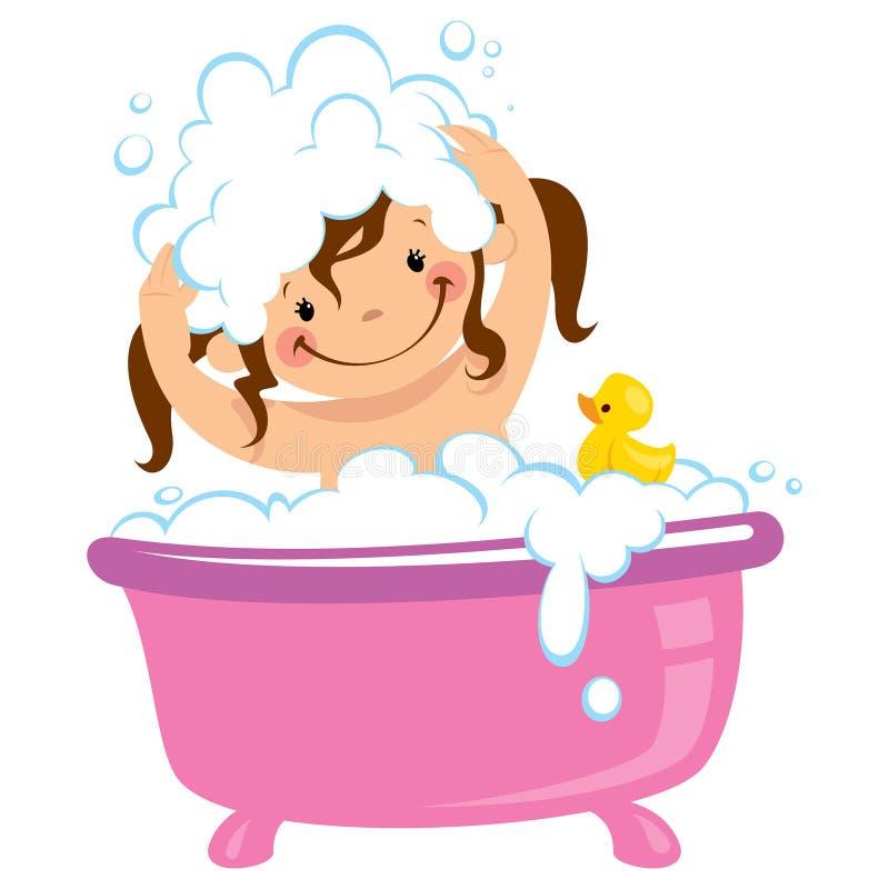 Muchacha del niño del bebé que se baña en tina de baño y pelo que se lava ilustración del vector