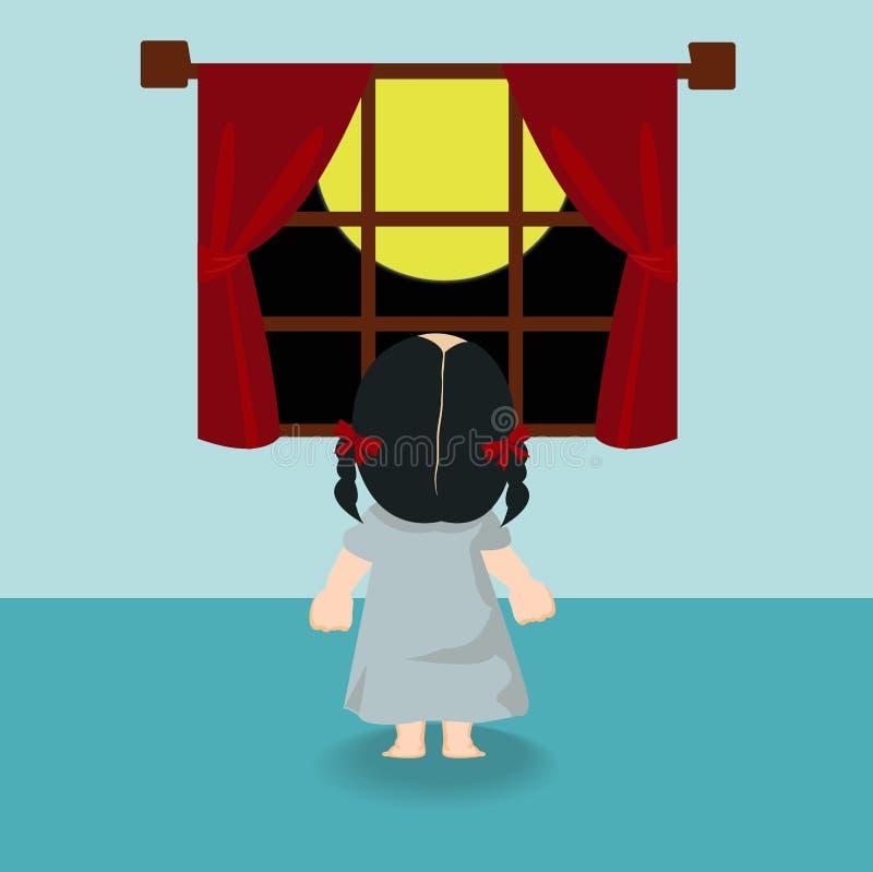 Muchacha del niño que retrocede en la ventana libre illustration