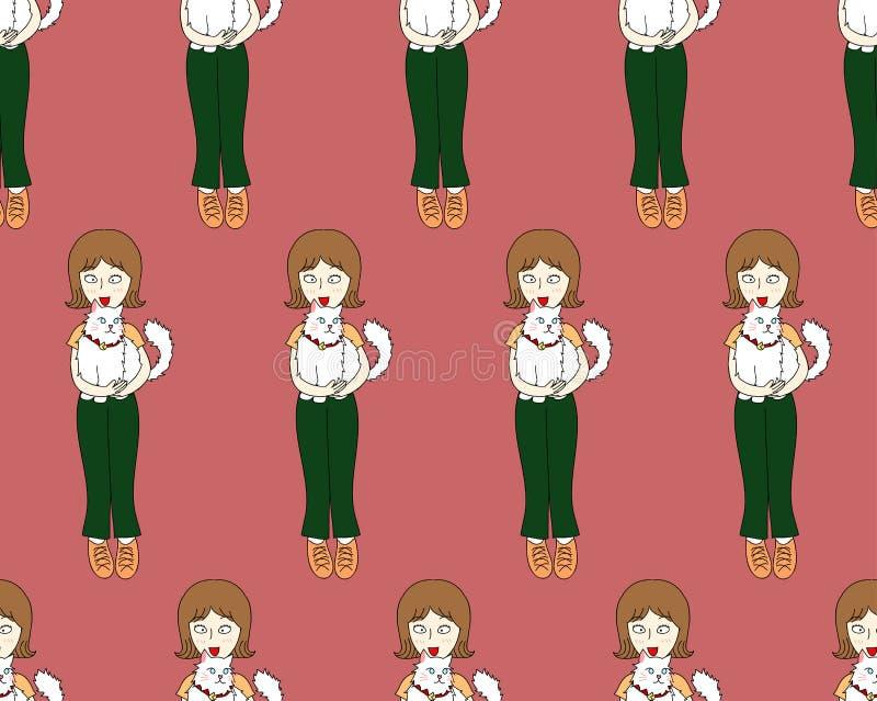 Muchacha del pelo corto con el gato en fondo rojo Ilustración del vector libre illustration