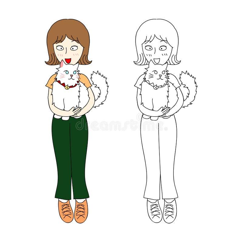 Muchacha del pelo corto con el gato Ilustración del vector Aislado en el fondo blanco libre illustration