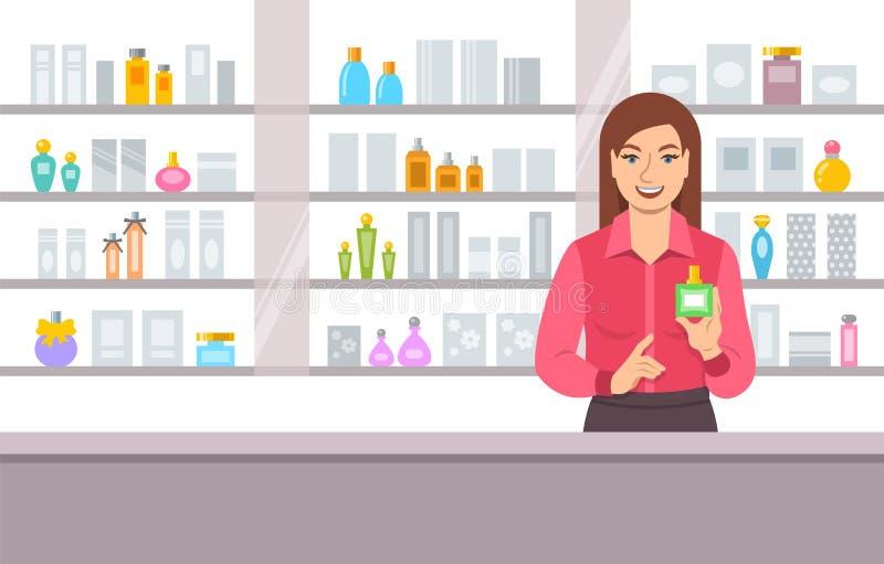 Muchacha del perfumista cerca de estantes con perfumes stock de ilustración