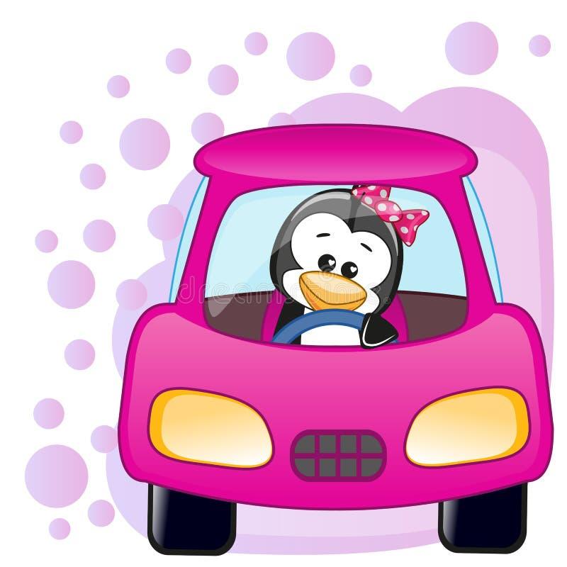 Muchacha del pingüino en un coche stock de ilustración