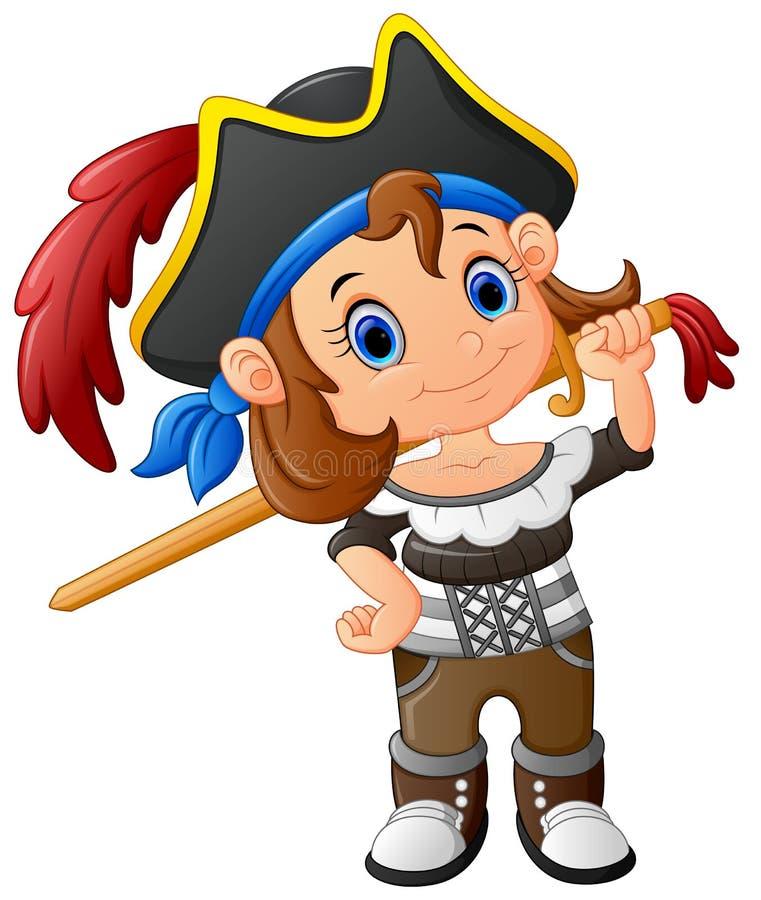 Muchacha del pirata que sostiene la espada de madera stock de ilustración