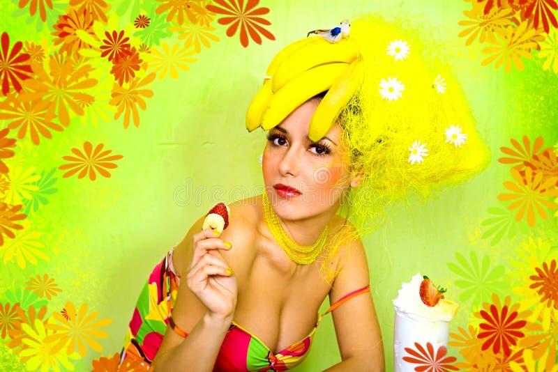 Muchacha del plátano fotografía de archivo libre de regalías