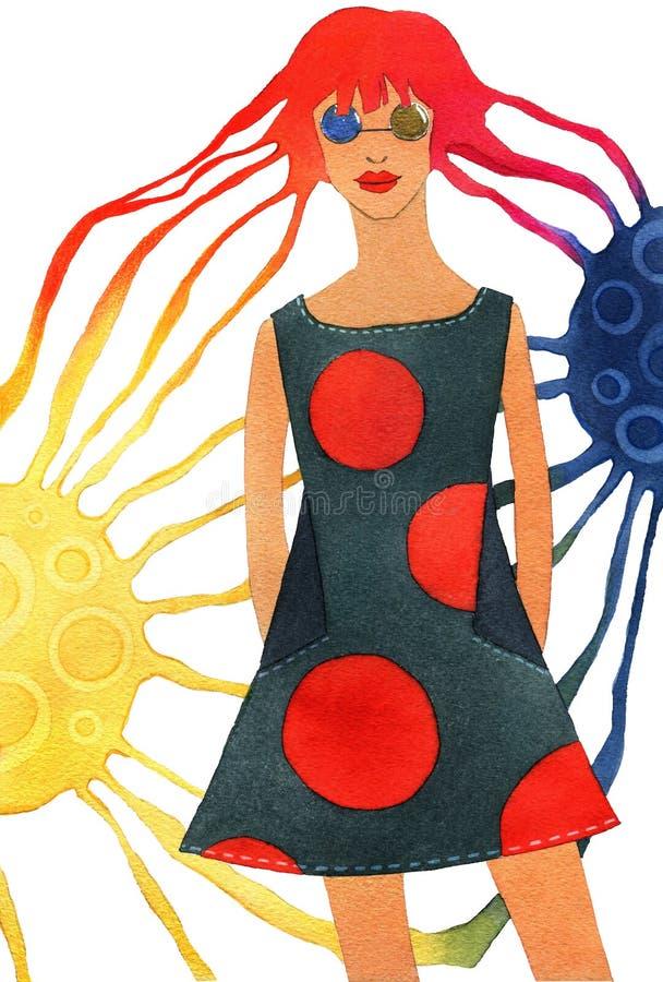 Muchacha del planeta, muchacha con el pelo largo, dando vuelta en los haces de las dos lunas de cuerpos ilustración del vector