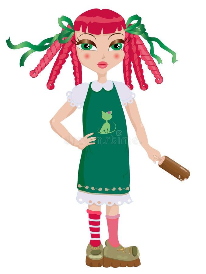 Muchacha del Redhead con un popsicle del chocolate ilustración del vector