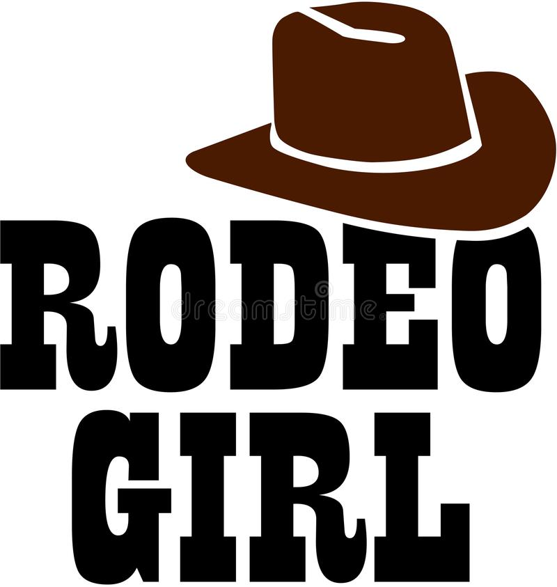 Muchacha del rodeo con el sombrero de vaquero libre illustration