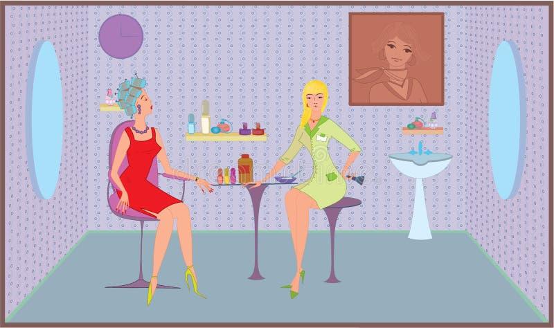 Muchacha del salón de belleza con el cepillo stock de ilustración