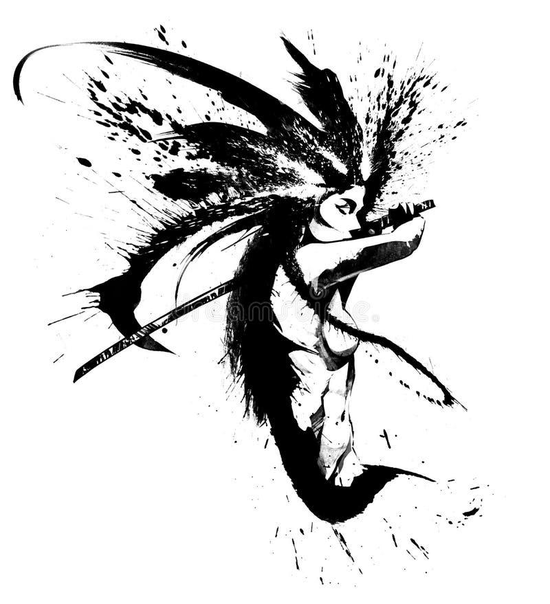 Muchacha del samurai con katana libre illustration