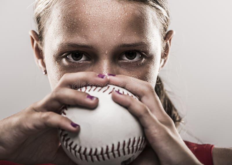 Muchacha del softball fotos de archivo libres de regalías
