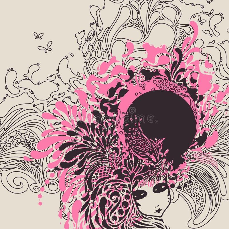 Muchacha del vector con el peinado extraño abstracto. ilustración del vector