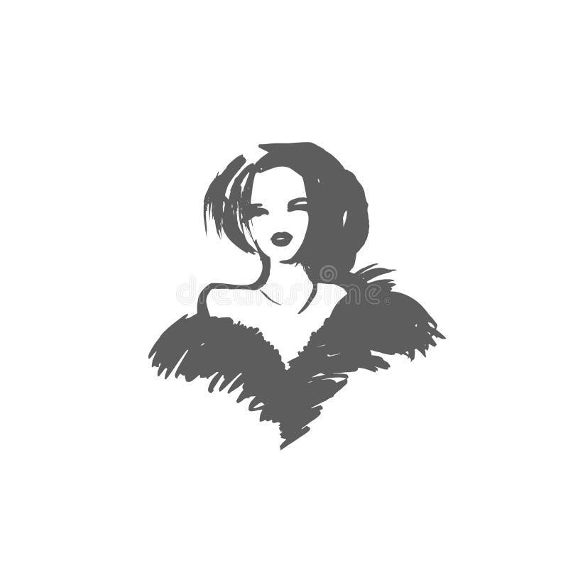 Muchacha del vector Señora elegante Mujeres de moda El diseño de moda en el estilo del bosquejo, muchacha dibujada mano en invier libre illustration
