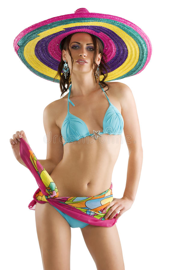 Muchacha del verano con el sombrero imagen de archivo