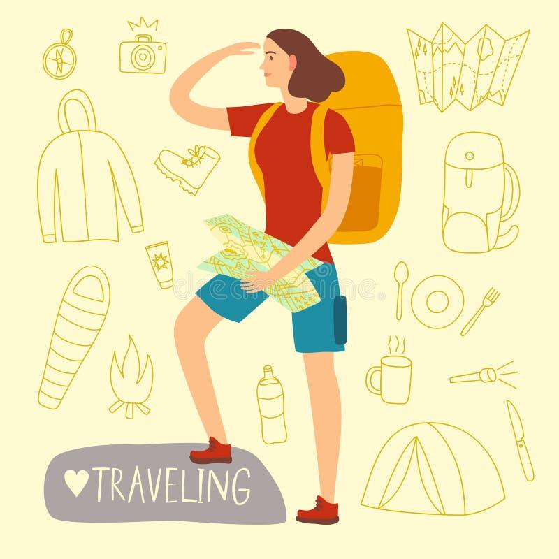 Muchacha del viajero con una mochila y un mapa grandes stock de ilustración