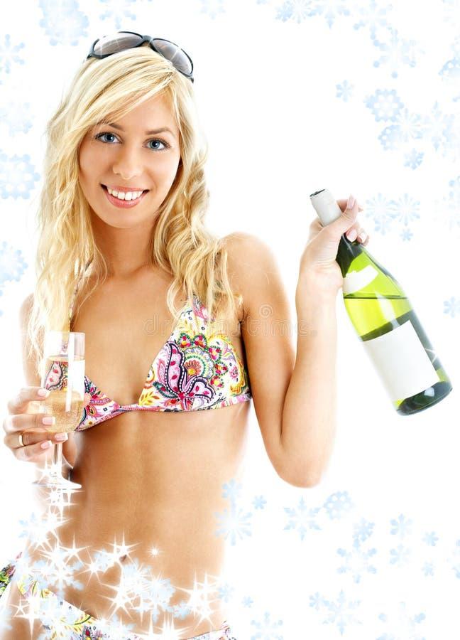 Muchacha del vino con los copos de nieve foto de archivo