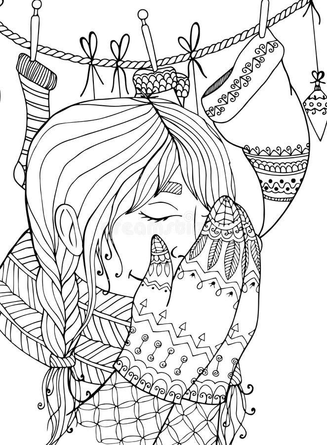Muchacha del zentangl del ejemplo de la Navidad del vector en bufanda Dibujo del garabato stock de ilustración