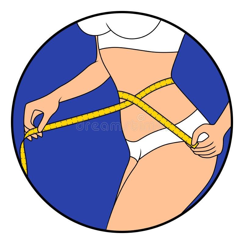 Muchacha delgada con cinta métrica alrededor del cuerpo stock de ilustración