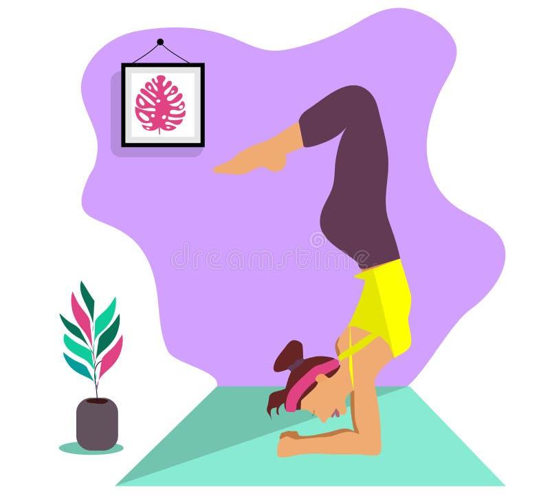 Muchacha delgada joven que hace el deporte, yoga, aptitud, gimnasia, estirando en el cuarto interior de moda Ejemplo plano del ve libre illustration